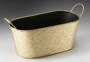 Oval Metal Pail - Gold