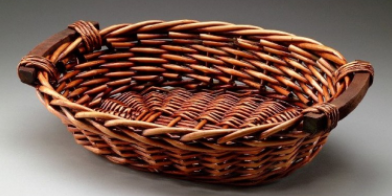 Brown Oval Willow Basket With Wooden Handles