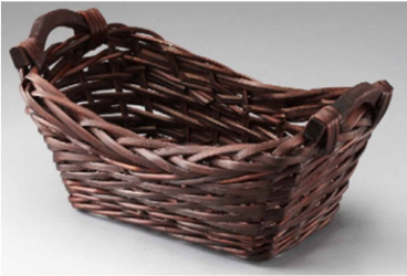 Brown Rectangular Slim Willow Basket With Wood Handles