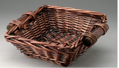 Brown Square Willow Basket With Wooden Handles