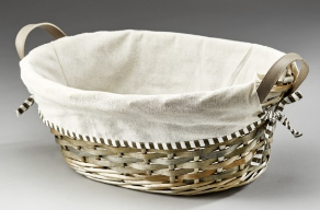 Grey Wash Oval Basket With Fabric Lining