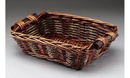 Rectangular Willow and Rope Basket w/ Wooden Ear Handles