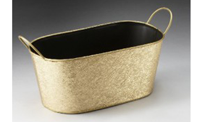 Gold Oval Metal Container