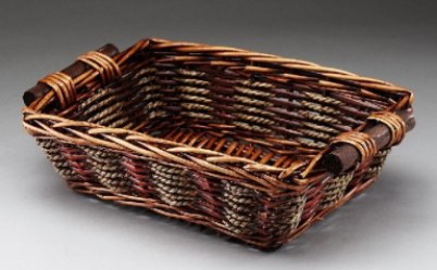 Brown Rectangular Willow Basket With Wooden Handles