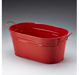 Red Oval Metal Pail