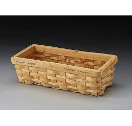 Rectangular Woodchip Basket with Stenciled Rim (Very Small)
